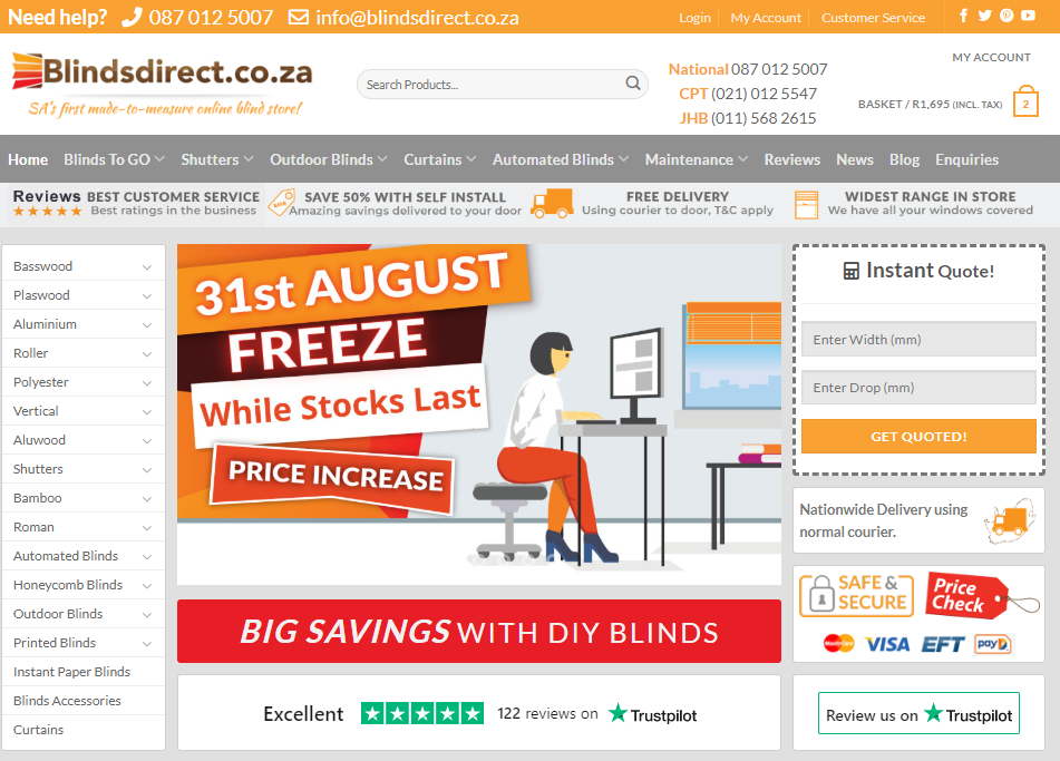 BlindsDirect.co.za Home Page